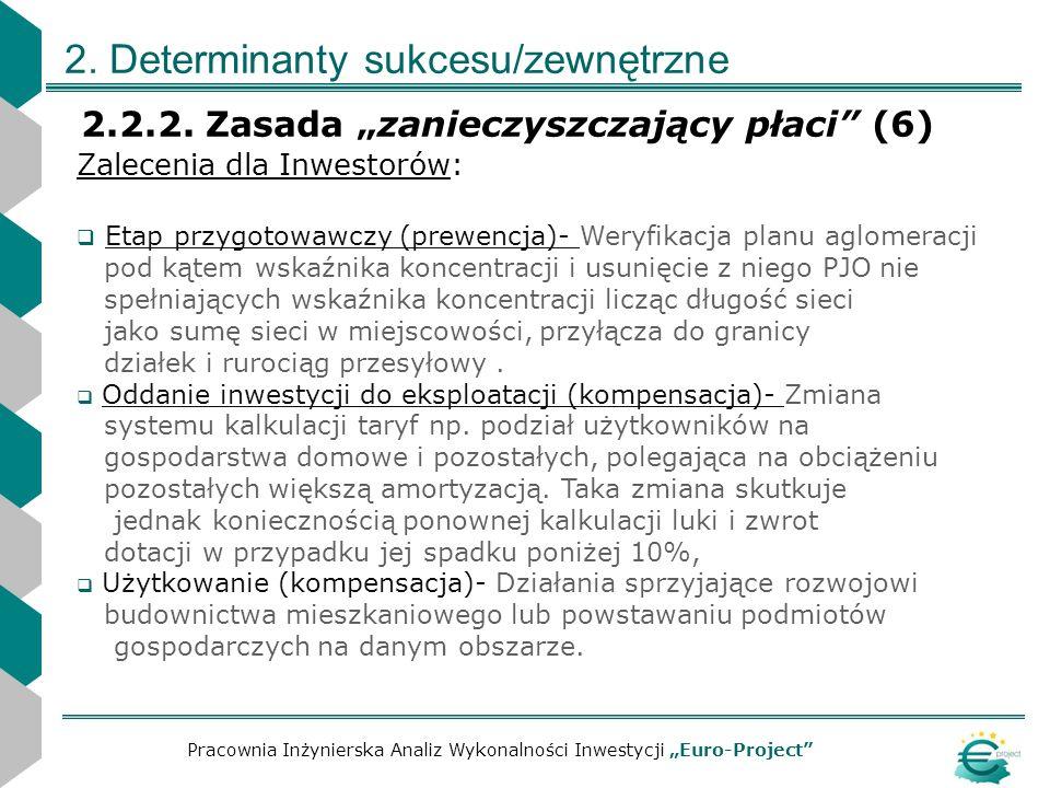 2. Determinanty sukcesu/zewnętrzne 2.2.2. Zasada zanieczyszczający płaci (6) Pracownia Inżynierska Analiz Wykonalności Inwestycji Euro-Project Zalecen