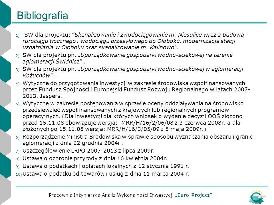 Bibliografia 1) SW dla projektu: Skanalizowanie i zwodociągowanie m. Niesulice wraz z budową rurociągu tłocznego i wodociągu przesyłowego do Ołoboku,