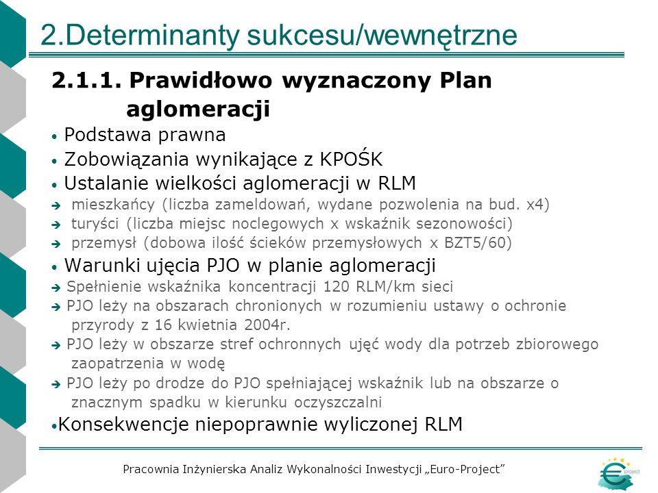 2.Determinanty sukcesu/wewnętrzne 2.1.1. Prawidłowo wyznaczony Plan aglomeracji Podstawa prawna Zobowiązania wynikające z KPOŚK Ustalanie wielkości ag