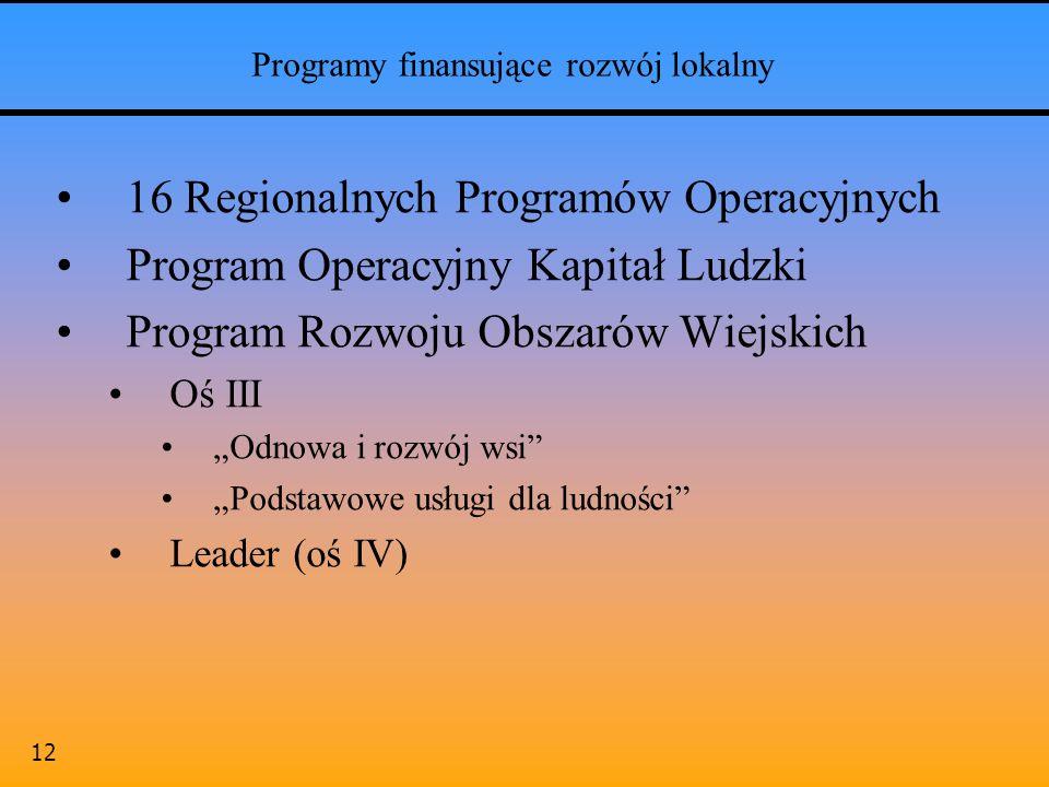 12 Programy finansujące rozwój lokalny 16 Regionalnych Programów Operacyjnych Program Operacyjny Kapitał Ludzki Program Rozwoju Obszarów Wiejskich Oś