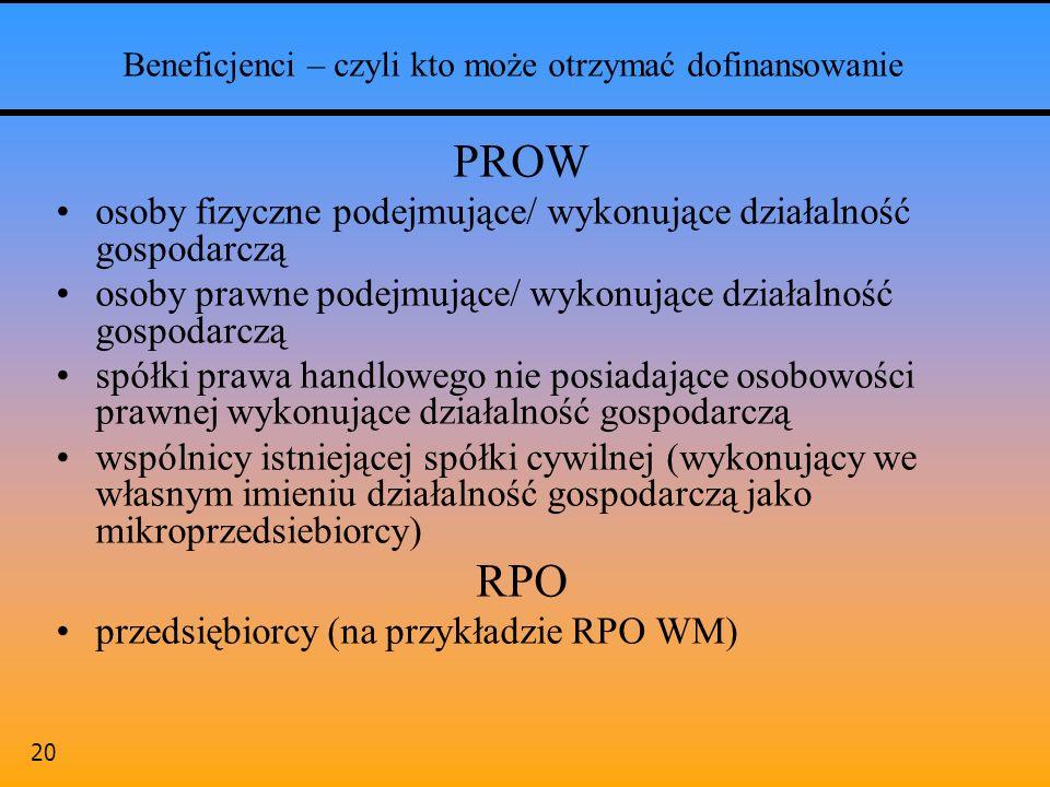 20 Beneficjenci – czyli kto może otrzymać dofinansowanie PROW osoby fizyczne podejmujące/ wykonujące działalność gospodarczą osoby prawne podejmujące/