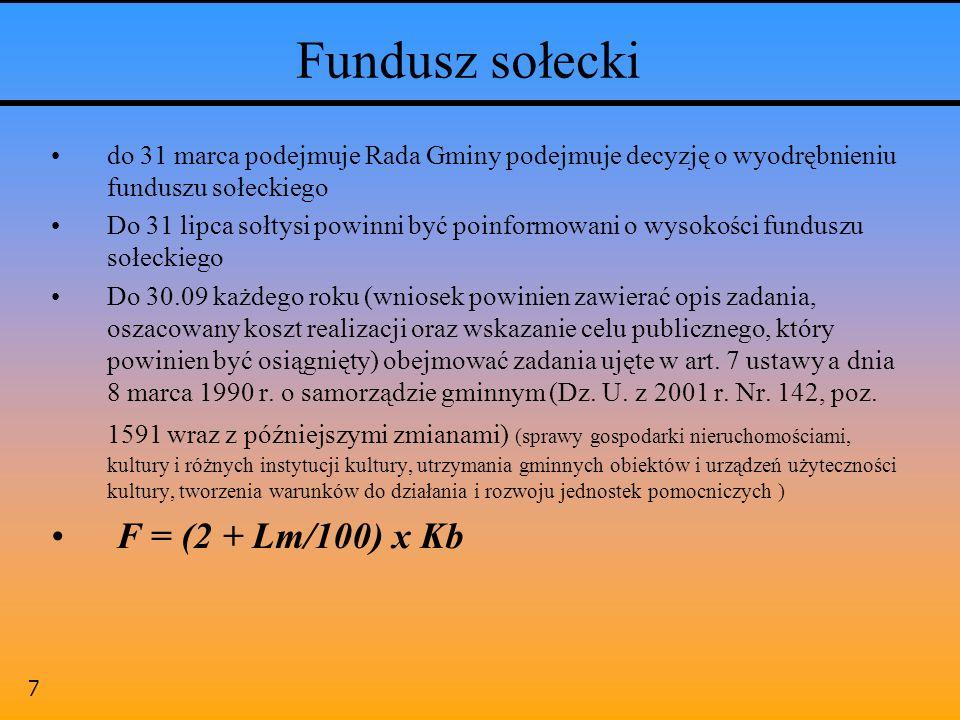 7 Fundusz sołecki do 31 marca podejmuje Rada Gminy podejmuje decyzję o wyodrębnieniu funduszu sołeckiego Do 31 lipca sołtysi powinni być poinformowani