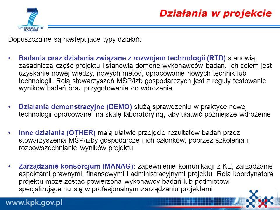 Dopuszczalne są następujące typy działań: Badania oraz działania związane z rozwojem technologii (RTD) stanowią zasadniczą część projektu i stanowią d