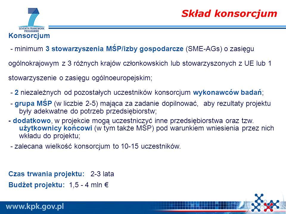 Konsorcjum - minimum 3 stowarzyszenia MŚP/izby gospodarcze (SME-AGs) o zasięgu ogólnokrajowym z 3 różnych krajów członkowskich lub stowarzyszonych z U