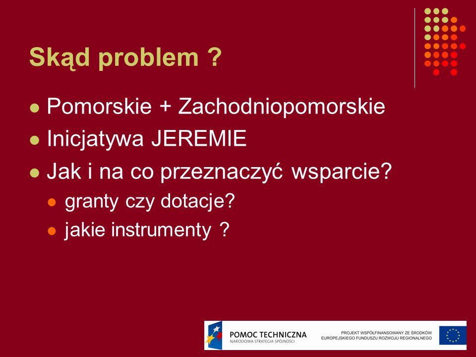 Skąd problem ? Pomorskie + Zachodniopomorskie Inicjatywa JEREMIE Jak i na co przeznaczyć wsparcie? granty czy dotacje? jakie instrumenty ?