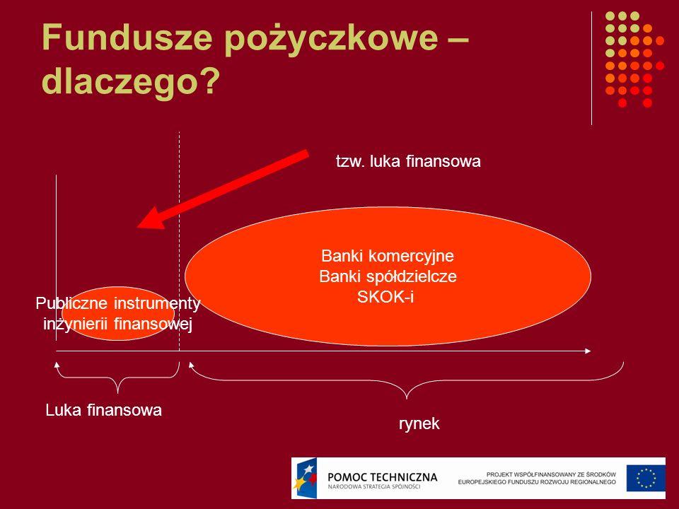 Fundusze pożyczkowe – dlaczego? Luka finansowa rynek Banki komercyjne Banki spółdzielcze SKOK-i Publiczne instrumenty inżynierii finansowej tzw. luka