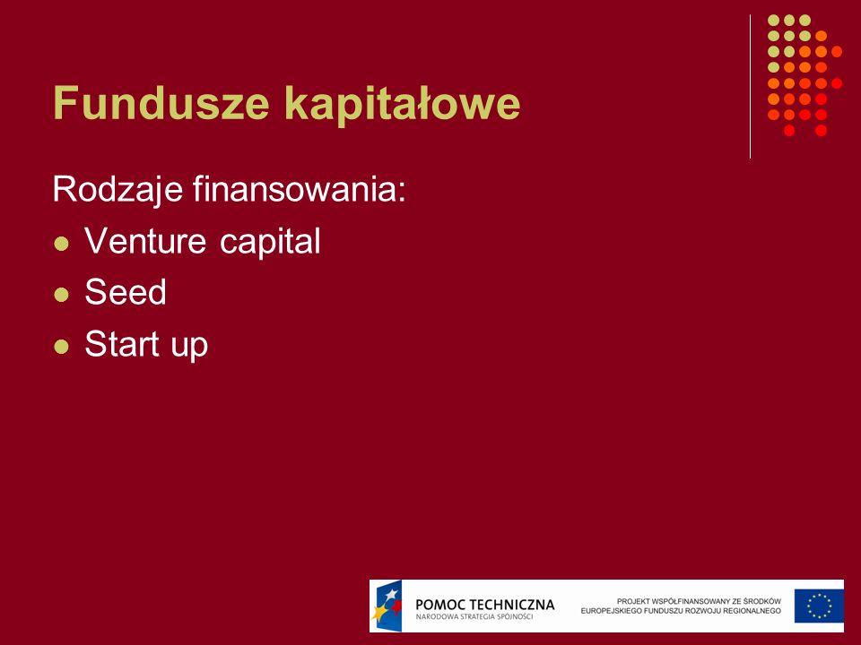 Fundusze kapitałowe Rodzaje finansowania: Venture capital Seed Start up
