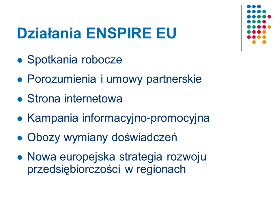 Działania ENSPIRE EU Spotkania robocze Porozumienia i umowy partnerskie Strona internetowa Kampania informacyjno-promocyjna Obozy wymiany doświadczeń Nowa europejska strategia rozwoju przedsiębiorczości w regionach
