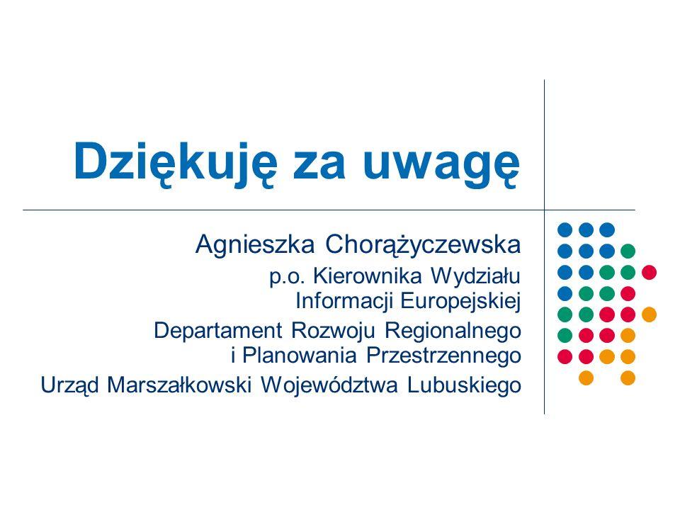 Dziękuję za uwagę Agnieszka Chorążyczewska p.o.