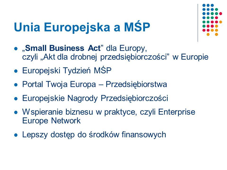 Unia Europejska a MŚP Small Business Act dla Europy, czyli Akt dla drobnej przedsiębiorczości w Europie Europejski Tydzień MŚP Portal Twoja Europa – Przedsiębiorstwa Europejskie Nagrody Przedsiębiorczości Wspieranie biznesu w praktyce, czyli Enterprise Europe Network Lepszy dostęp do środków finansowych
