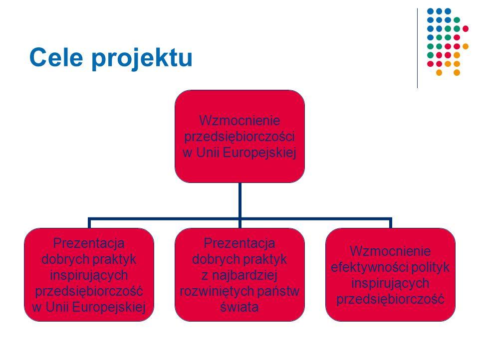 Cele projektu Wzmocnienie przedsiębiorczości w Unii Europejskiej Prezentacja dobrych praktyk inspirujących przedsiębiorczość w Unii Europejskiej Prezentacja dobrych praktyk z najbardziej rozwiniętych państw świata Wzmocnienie efektywności polityk inspirujących przedsiębiorczość