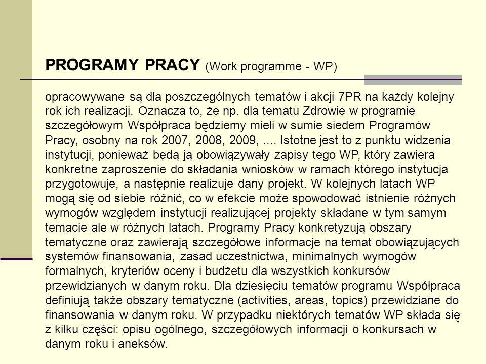 PROGRAMY PRACY (Work programme - WP) opracowywane są dla poszczególnych tematów i akcji 7PR na każdy kolejny rok ich realizacji. Oznacza to, że np. dl