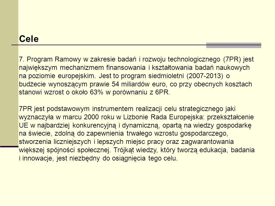 Cele 7. Program Ramowy w zakresie badań i rozwoju technologicznego (7PR) jest największym mechanizmem finansowania i kształtowania badań naukowych na