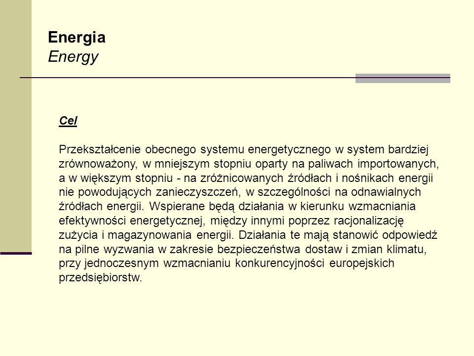 Energia Energy Cel Przekształcenie obecnego systemu energetycznego w system bardziej zrównoważony, w mniejszym stopniu oparty na paliwach importowanyc