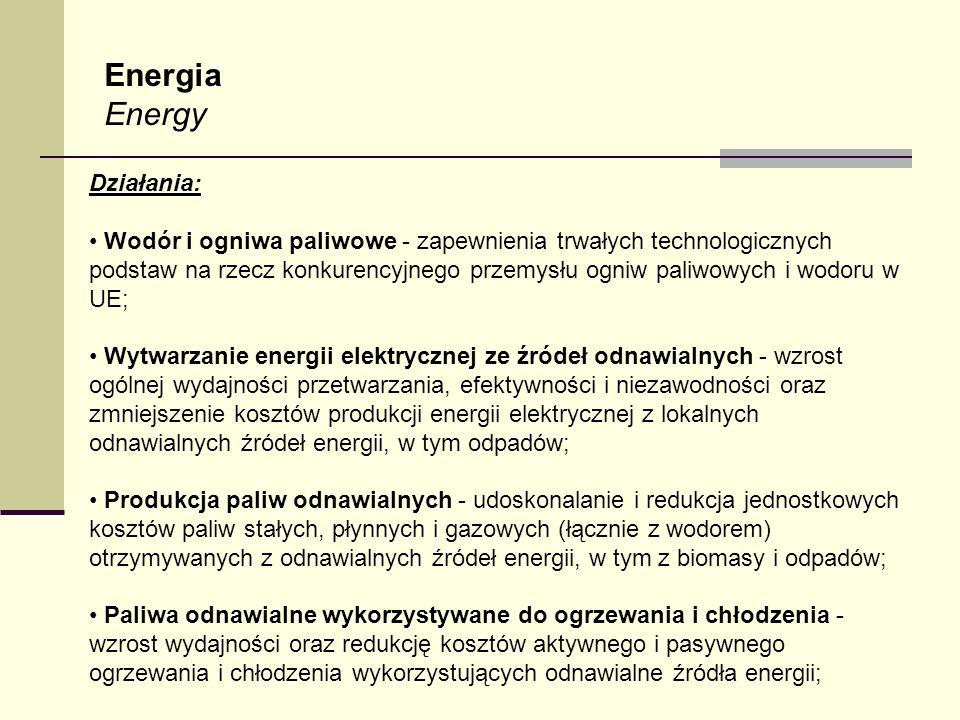 Energia Energy Działania: Wodór i ogniwa paliwowe - zapewnienia trwałych technologicznych podstaw na rzecz konkurencyjnego przemysłu ogniw paliwowych