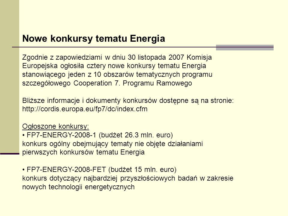 Nowe konkursy tematu Energia Zgodnie z zapowiedziami w dniu 30 listopada 2007 Komisja Europejska ogłosiła cztery nowe konkursy tematu Energia stanowią