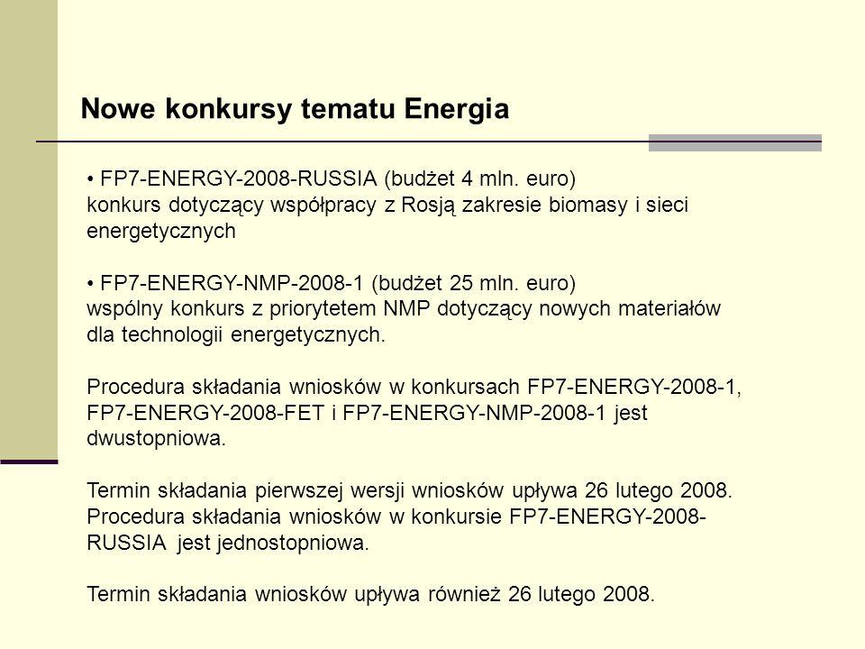 FP7-ENERGY-2008-RUSSIA (budżet 4 mln. euro) konkurs dotyczący współpracy z Rosją zakresie biomasy i sieci energetycznych FP7-ENERGY-NMP-2008-1 (budżet