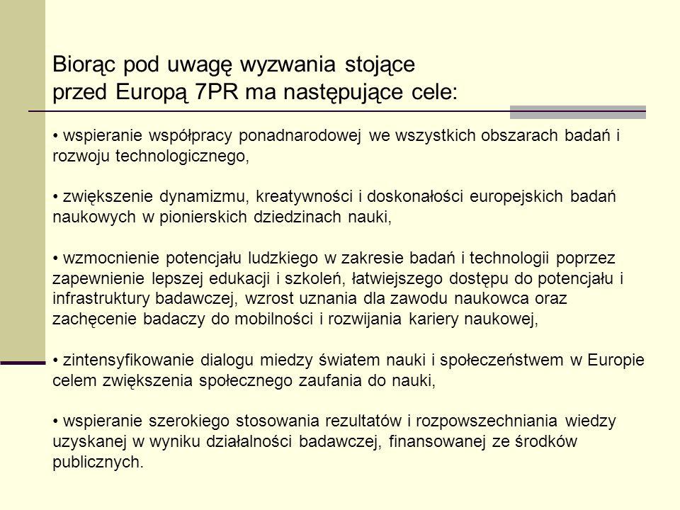 Biorąc pod uwagę wyzwania stojące przed Europą 7PR ma następujące cele: wspieranie współpracy ponadnarodowej we wszystkich obszarach badań i rozwoju t