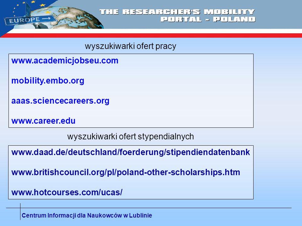 Centrum Informacji dla Naukowców w Lublinie www.academicjobseu.com mobility.embo.org aaas.sciencecareers.org www.career.edu wyszukiwarki ofert pracy w