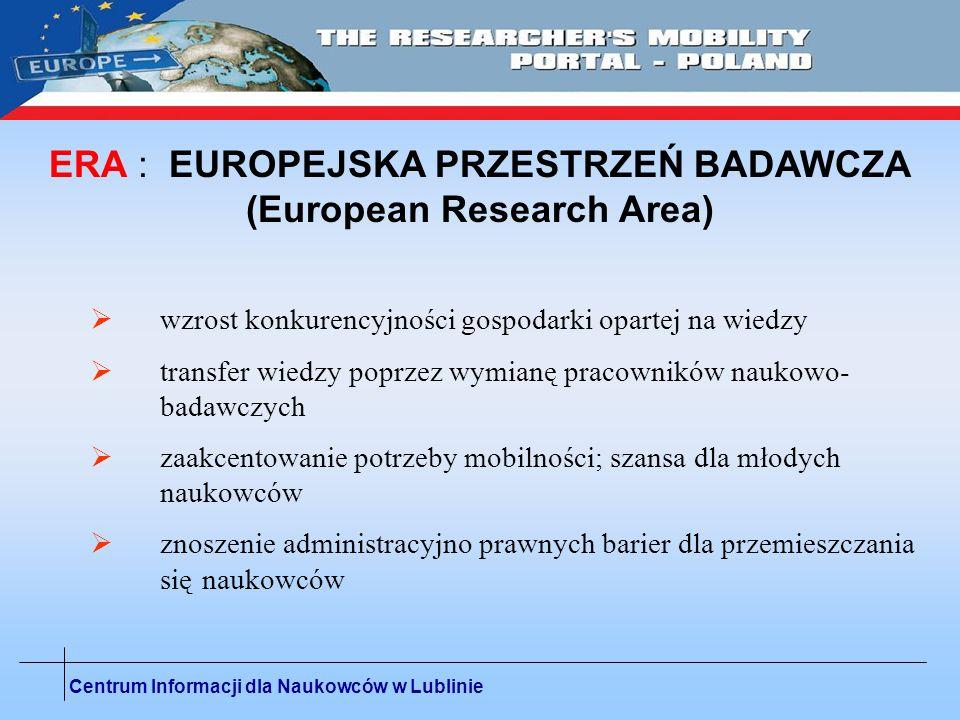 Centrum Informacji dla Naukowców w Lublinie EUROPEJSKA SIEC CENTRÓW INFORMACJI DLA NAUKOWCÓW W ponad 30 krajach europejskich funkcjonuje ok.
