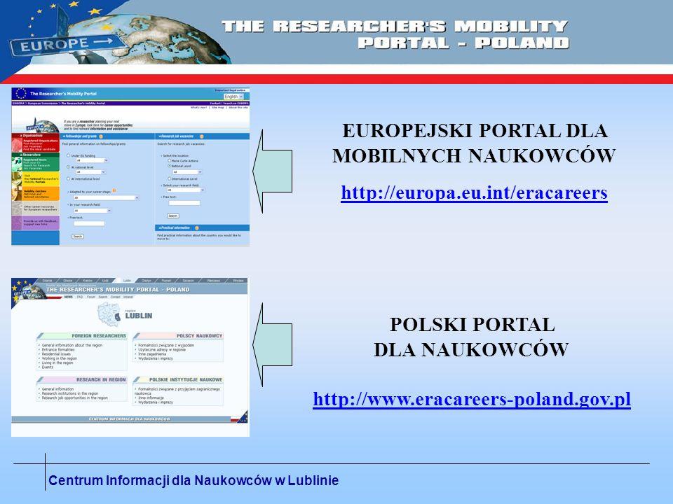 Centrum Informacji dla Naukowców w Lublinie EUROPEJSKI PORTAL DLA MOBILNYCH NAUKOWCÓW http://europa.eu.int/eracareers POLSKI PORTAL DLA NAUKOWCÓW http