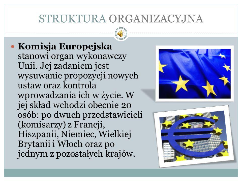 STRUKTURA ORGANIZACYJNA Komisja Europejska stanowi organ wykonawczy Unii. Jej zadaniem jest wysuwanie propozycji nowych ustaw oraz kontrola wprowadzan