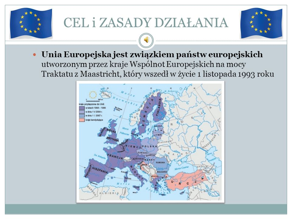 CEL i ZASADY DZIAŁANIA Unia Europejska jest związkiem państw europejskich utworzonym przez kraje Wspólnot Europejskich na mocy Traktatu z Maastricht,