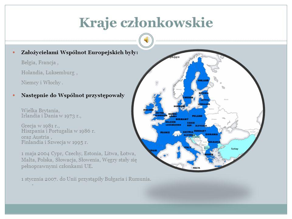 Kraje członkowskie Założycielami Wspólnot Europejskich były: Belgia, Francja, Holandia, Luksemburg, Niemcy i Włochy. Następnie do Wspólnot przystępowa