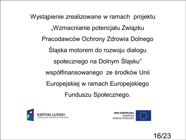 16/23 Wystąpienie zrealizowane w ramach projektu Wzmacnianie potencjału Związku Pracodawców Ochrony Zdrowia Dolnego Śląska motorem do rozwoju dialogu