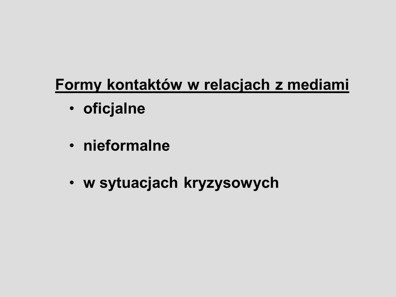 Formy kontaktów w relacjach z mediami oficjalne nieformalne w sytuacjach kryzysowych