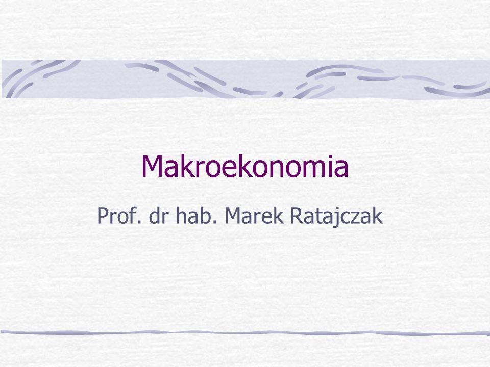 Marek Ratajczak, Akademia Ekonomiczna w Poznaniu Podstawowe makroekonomiczne zależności agregatowe: Y = C + I + G + NX YD = C + S YD = Y + TR – TA C + S = C + I + G + NX + TR – TA S – I = (G + TR – TA) + NX
