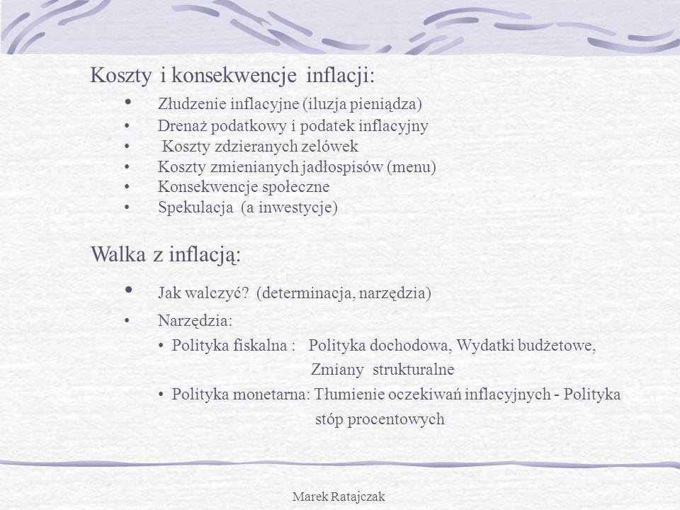 Marek Ratajczak Koszty i konsekwencje inflacji: Złudzenie inflacyjne (iluzja pieniądza) Drenaż podatkowy i podatek inflacyjny Koszty zdzieranych zelów