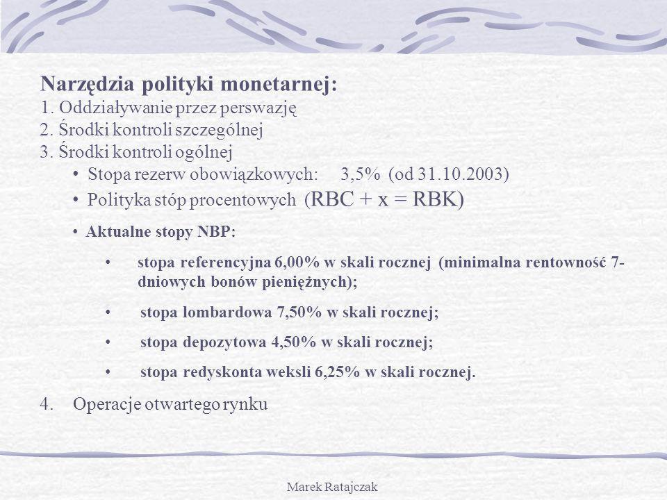 Marek Ratajczak Narzędzia polityki monetarnej: 1. Oddziaływanie przez perswazję 2. Środki kontroli szczególnej 3. Środki kontroli ogólnej Stopa rezerw