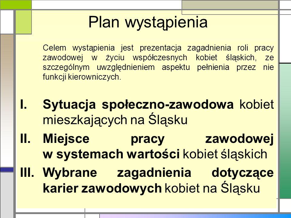 Plan wystąpienia Celem wystąpienia jest prezentacja zagadnienia roli pracy zawodowej w życiu współczesnych kobiet śląskich, ze szczególnym uwzględnien