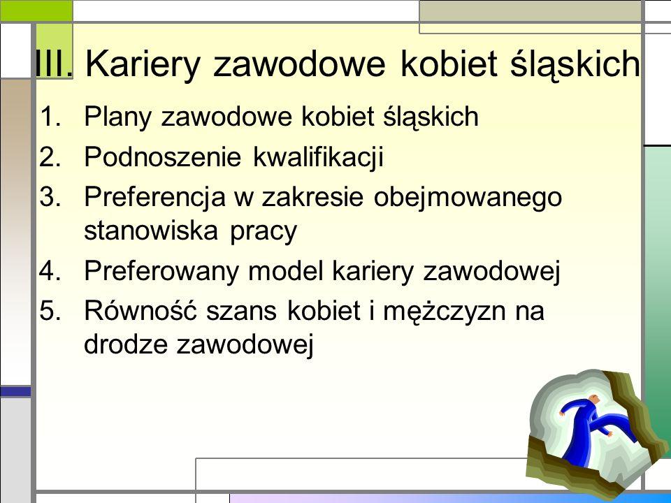III. Kariery zawodowe kobiet śląskich 1.Plany zawodowe kobiet śląskich 2.Podnoszenie kwalifikacji 3.Preferencja w zakresie obejmowanego stanowiska pra