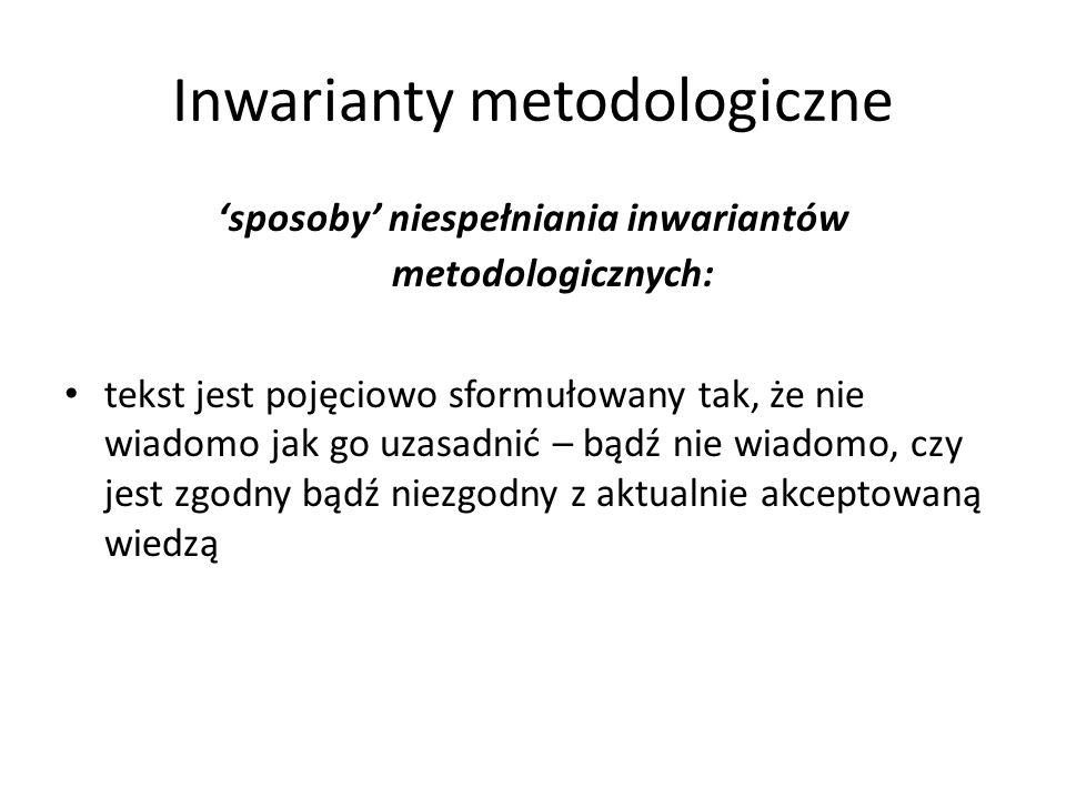 Inwarianty metodologiczne sposoby niespełniania inwariantów metodologicznych: tekst jest pojęciowo sformułowany tak, że nie wiadomo jak go uzasadnić –