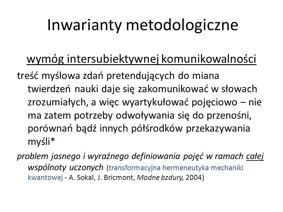 Inwarianty metodologiczne wymóg intersubiektywnej komunikowalności treść myślowa zdań pretendujących do miana twierdzeń nauki daje się zakomunikować w