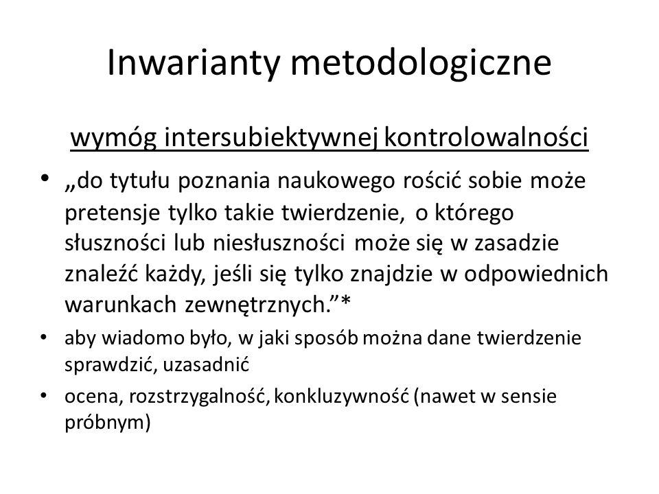 Inwarianty metodologiczne wymóg intersubiektywnej kontrolowalności do tytułu poznania naukowego rościć sobie może pretensje tylko takie twierdzenie, o