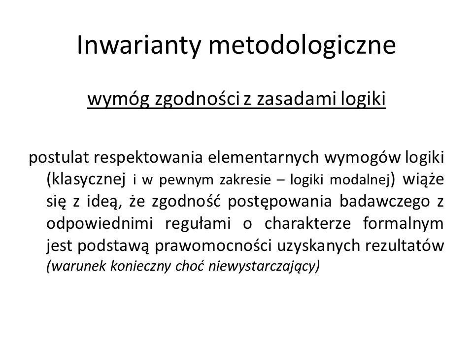 Inwarianty metodologiczne wymóg zgodności z zasadami logiki postulat respektowania elementarnych wymogów logiki (klasycznej i w pewnym zakresie – logi