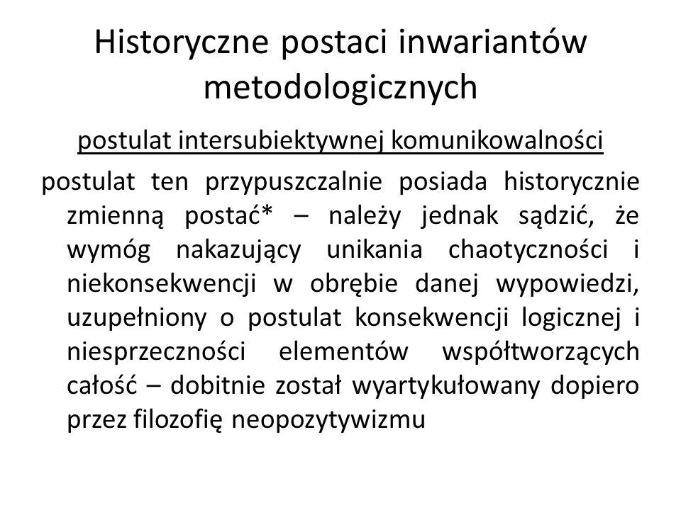 Historyczne postaci inwariantów metodologicznych postulat intersubiektywnej komunikowalności postulat ten przypuszczalnie posiada historycznie zmienną