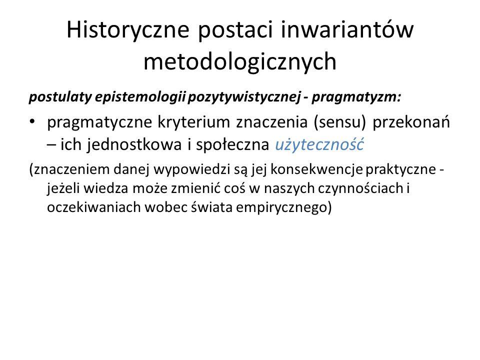 Historyczne postaci inwariantów metodologicznych postulaty epistemologii pozytywistycznej - pragmatyzm: pragmatyczne kryterium znaczenia (sensu) przek