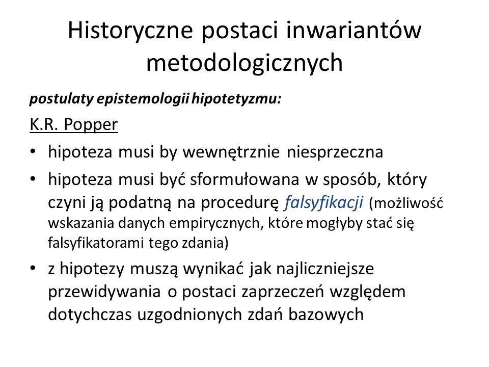 Historyczne postaci inwariantów metodologicznych postulaty epistemologii hipotetyzmu: K.R. Popper hipoteza musi by wewnętrznie niesprzeczna hipoteza m