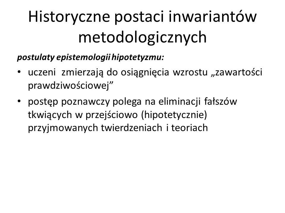 Historyczne postaci inwariantów metodologicznych postulaty epistemologii hipotetyzmu: uczeni zmierzają do osiągnięcia wzrostu zawartości prawdziwościo