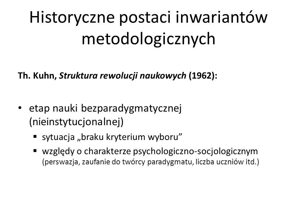 Historyczne postaci inwariantów metodologicznych Th. Kuhn, Struktura rewolucji naukowych (1962): etap nauki bezparadygmatycznej (nieinstytucjonalnej)