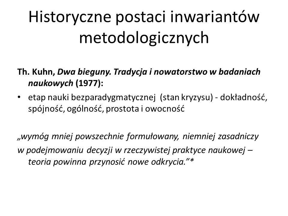Historyczne postaci inwariantów metodologicznych Th. Kuhn, Dwa bieguny. Tradycja i nowatorstwo w badaniach naukowych (1977): etap nauki bezparadygmaty