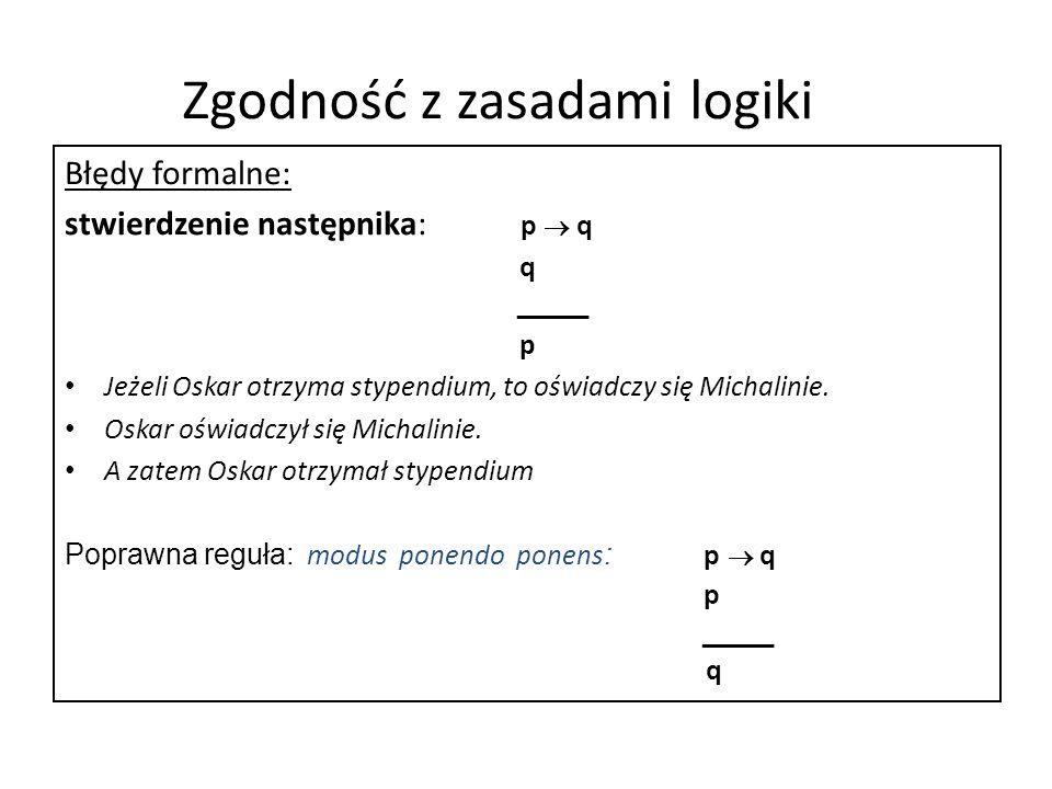 Zgodność z zasadami logiki Błędy formalne: stwierdzenie następnika: p q q _____ p Jeżeli Oskar otrzyma stypendium, to oświadczy się Michalinie. Oskar