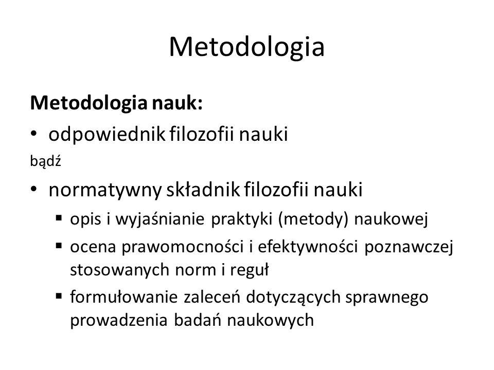Metodologia Metodologia nauk: odpowiednik filozofii nauki bądź normatywny składnik filozofii nauki opis i wyjaśnianie praktyki (metody) naukowej ocena