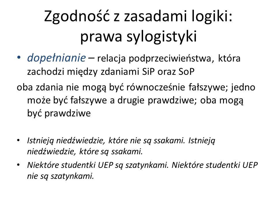 Zgodność z zasadami logiki: prawa sylogistyki dopełnianie – relacja podprzeciwieństwa, która zachodzi między zdaniami SiP oraz SoP oba zdania nie mogą