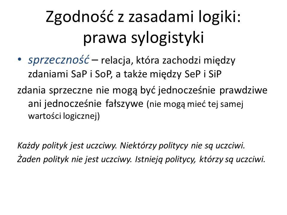 Zgodność z zasadami logiki: prawa sylogistyki sprzeczność – relacja, która zachodzi między zdaniami SaP i SoP, a także między SeP i SiP zdania sprzecz