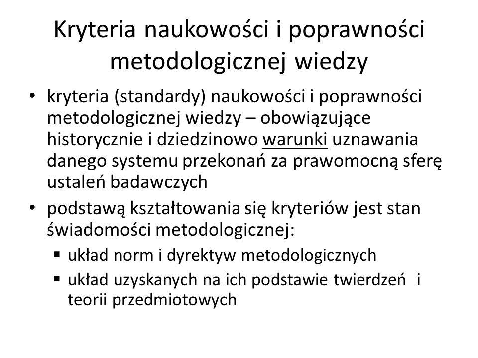 Kryteria naukowości i poprawności metodologicznej wiedzy kryteria (standardy) naukowości i poprawności metodologicznej wiedzy – obowiązujące historycz